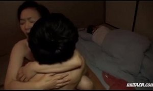 asian moms  creampie  fuck  husband  mature  sleeping